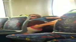 Pussy eating on a train.
