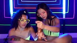AmateurBoxxx Ella Cruz And Lulu Chu Double Trouble Neon Hand Job